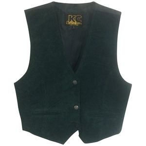 NWT KC Collections Hunter Green Suede Vest